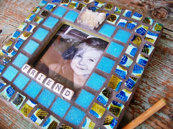 Mosaic Teal Picture Frame Friend by NatalieBacaStudio on Etsy, $30.00