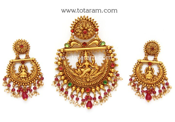 22K Gold 'Lakshmi' Pendant & Earring Set (Temple Jewellery)