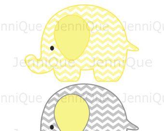Elefante para imprimir decoraciones, decoración de ducha bebé elefantes, elefante cumpleaños decoración, Chevron, amarillo, gris, blanco #EC13