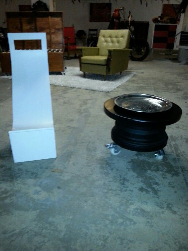 Recycled volvo wheel into sidetable...