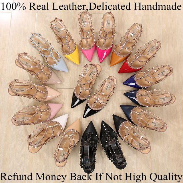 2016 Горячей Моды Заклепки Обувь Плюс Размер Кожа Насос Женщин сексуальные Острым Носом Высокие Каблуки Металл Шипованных Сандалии Sapato Feminino обуви