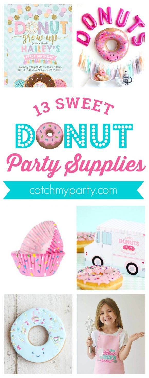 13 Must See Donut Birthday Party Supplies including donut party invitations, donut desserts, party favors, party decorations and more! | CatchMyParty.co…
