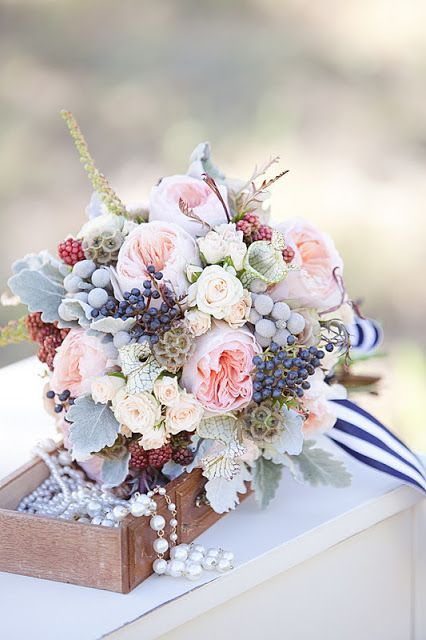 BOUQUETS: Blush & Berry bouquet with nautical ribbon and pearls - what a fresh and interesting combo! Love the blocks of bold colour with the powdery pastel foundation.