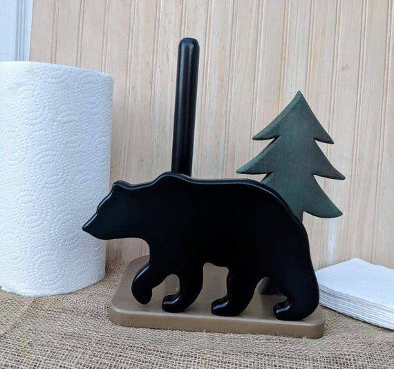 Black Bear Paper Towel & Napkin Holder-Bears-Rustic Cabin-Woodland Kitchen decor-Bear silhouette-Wooden-Ready To Ship @ApronStringsOwlLady