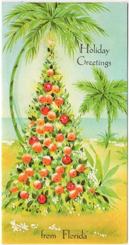 Fruit Tree Apple Orange Palm Tree Star Beach Florida VTG Christmas ...