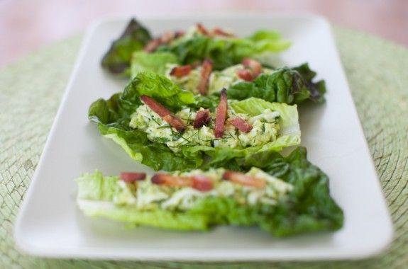 Avocado Egg Salad Lettuce Wraps with bacon on simplebites.net