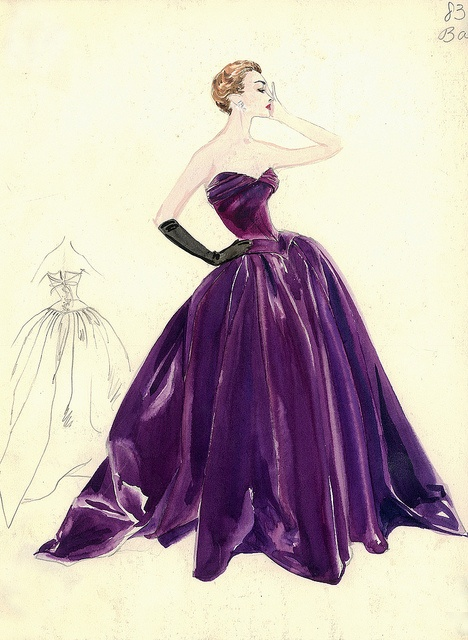 Balmain Haute Couture fashion illustration. Strapless evening ball gown in dazzling purple color drape beautifully at the decollette with a full skirt and a lace up corset tied design at the back. Includes back views in pencil. Bergdorf Goodman 1950s #Collection #Balmain #Fashion