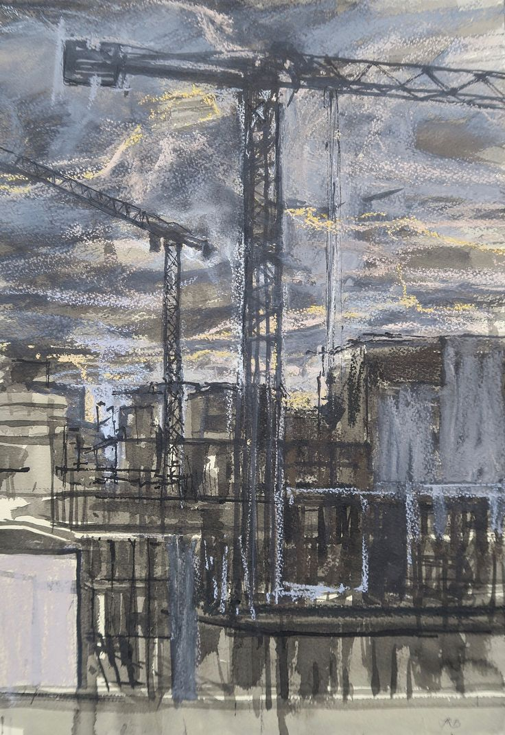 Jason Bowyer, Brentford Tower Cranes, Evening, Pastel & ink, 60 x 50 cm, £900