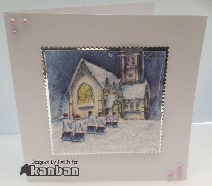 "6 x 6 card. Kanban decoupage topper, mirri and gems. ""Snow"" from stash."