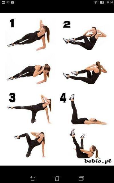 Brzuch - Dół brzucha - boczki (abdomen - bottom of abdomen - sides)  1. 20 x na każdą stronę     1 min aerobów (bieg w miejscu, aerobik, skakanka) 2. 20 x na każdą stronę     1 min aerobów 3. 20 x na każdą stronę     1 min aerobów 4. 20 x na każdą stronę     1 min aerobów  1. 20 x on each side     1 min of aerobes (running on the spot, jumping jacks, skipping rope) 2. 20 x on each side     1 min of aerobes 3. 20 x on each side     1 min of aerobes 4. 20 x on each side     1 min of aerobes