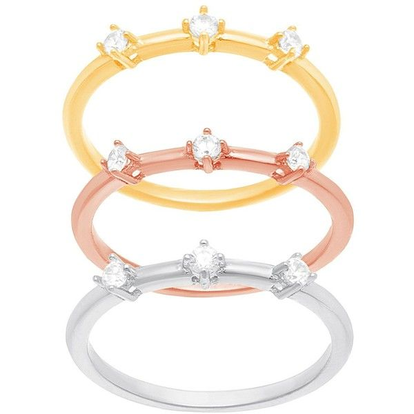 Lord & Taylor Tri-Colored Stainless Steel and Cubic Zirconia Stack... (£29) ❤ liked on Polyvore featuring jewelry, rings, tri color, multi colored rings, cz stackable rings, stainless steel cz rings, stackable rings and cz jewelry