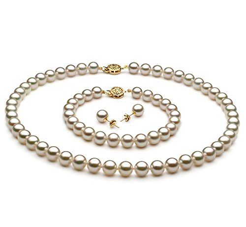 White 758mm AAA Quality Japanese Akoya 14K Yellow Gold Cultured Pearl Set18 in Princess length *** Visit the image link more details.(This is an Amazon affiliate link and I receive a commission for the sales)
