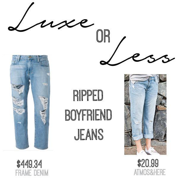 SHOP THESE: Frame Denim Distressed Boyfriend Jeans $449.34 via Farfetch  |  Layla Distressed BoyfriendJeans by Atmos & Here $20.99 (sale) via The Iconic