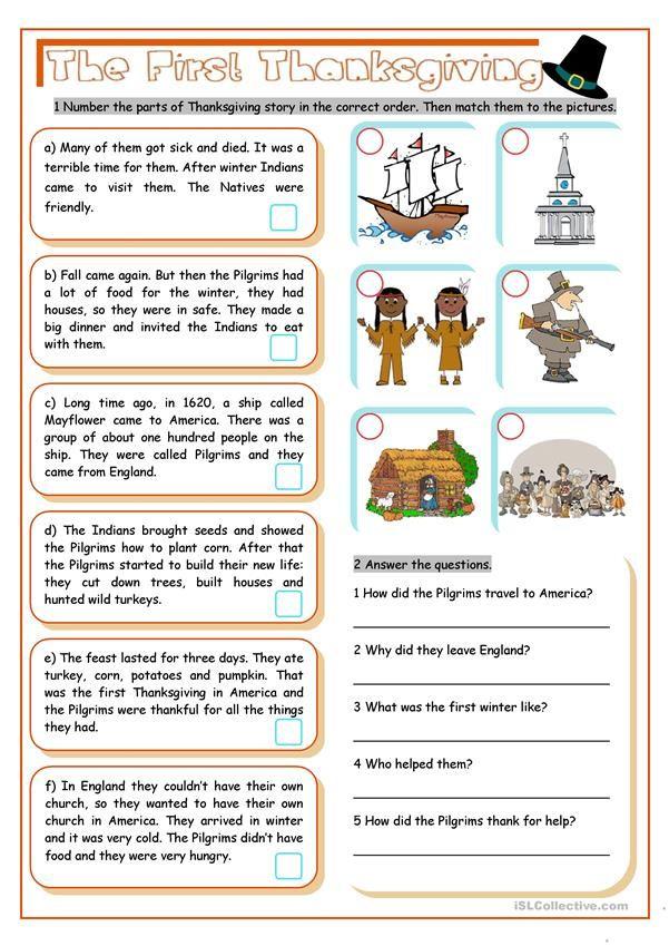 Free Printable Esl Thanksgiving Worksheets