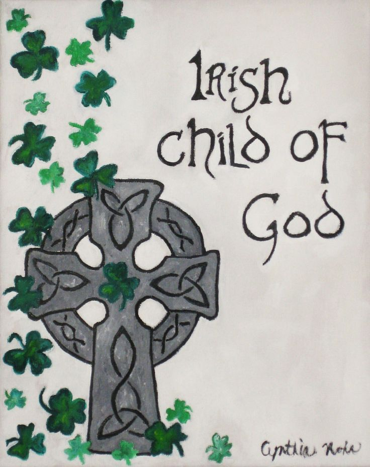 "Irish Celtic cross oil painting ""Irish child of God"", green black gray, shamrocks clovers original painting history fair"