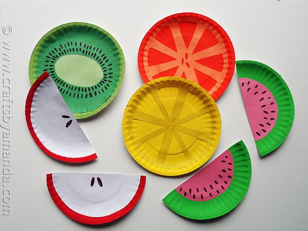 Paper Plate Fruit by Crafts by Amanda - Check the coolest kids crafts on FamilyFun Pinterest boards.
