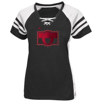 Women's Ottawa Senators Majestic Black Shimmer Lace Up T-Shirt