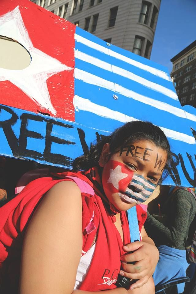 Supporters rally in Oakland, California, USA. #FreeWestPapua  Beautiful Girl in California Support West Papua.
