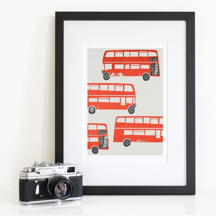 London Red Bus, Double Decker Bus, Transport Themed Art, City Gift, London  Town, Mid Century Style Print Wall Art, Made In United Kingdom