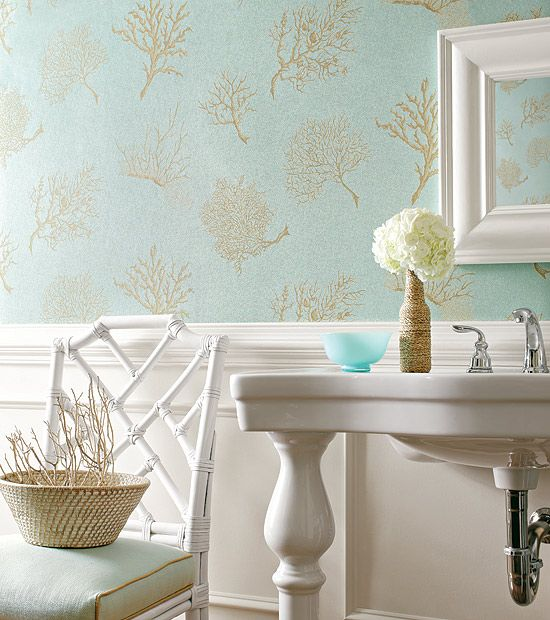 Coastal Chic- love the coral wallpaper for a powder room