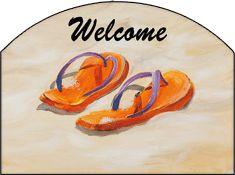 Orange Flip Flops Welcome Garden Sign