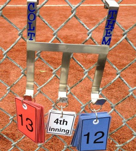 baseball scorekeeper - over- the-door hanger; laminate numbers... love this idea... I can never remember what the score is or what inning we're in