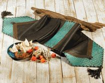 Turquoise Croc Leather Table Runner
