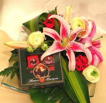 Lilies in a glass tray