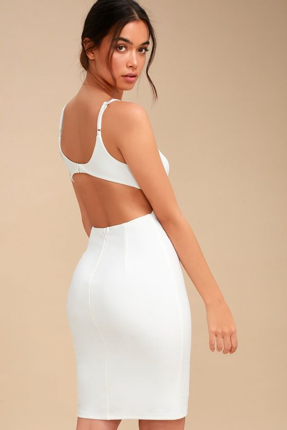 494b9c8a51 ... White Backless Bodycon Midi Dress! This sleek and sexy bodycon dress is  shaped from medium-weight