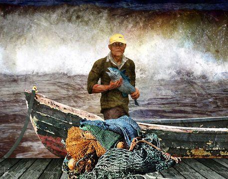 'Der Fischer und sein Boot' von Harald Fischer bei artflakes.com als Poster oder Kunstdruck $20.09