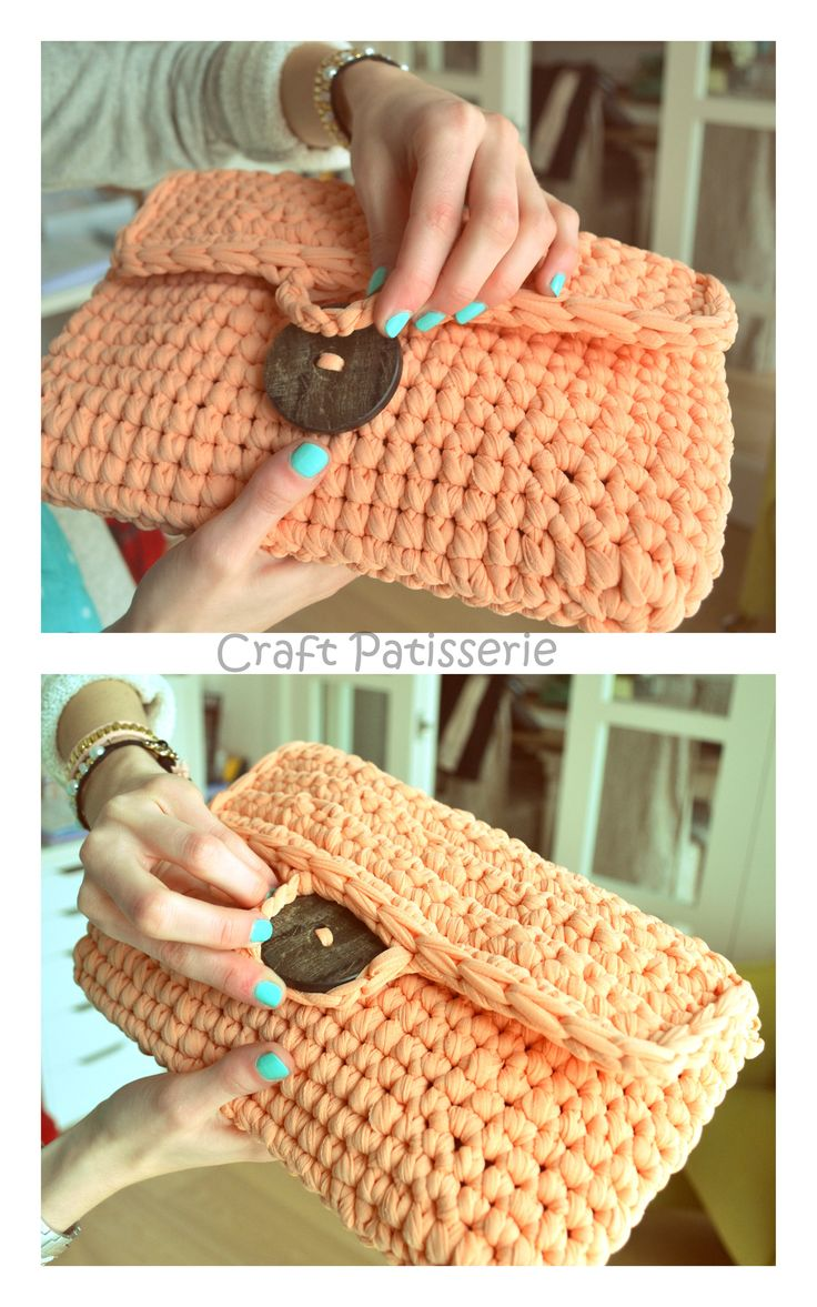 Handmade crochet ribbon pochette