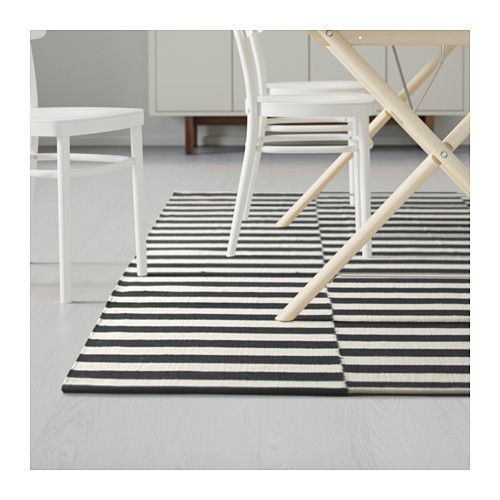 STOCKHOLM Rug, flatwoven, black stripe handmade, stripe off-white black/off-white handmade/stripe black/off-white 5 ' 7