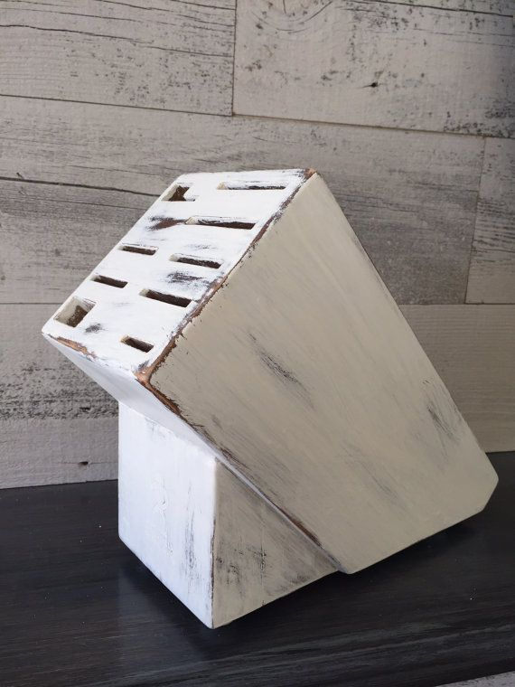 Hey, I found this really awesome Etsy listing at https://www.etsy.com/listing/256648682/shabby-white-knife-block-painted-white
