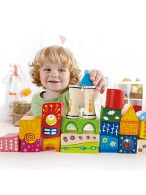 Fantasy Castle blocks - 22 decorated wooden block shapes.Multi-coloured and creative patterns bring the castle alive.Unique shapes, some with rattles, encourage imaginative towers and buildings.Made to Hape environmentally friendly and high quality standards.Helps develop colour and shape recognition and coordination