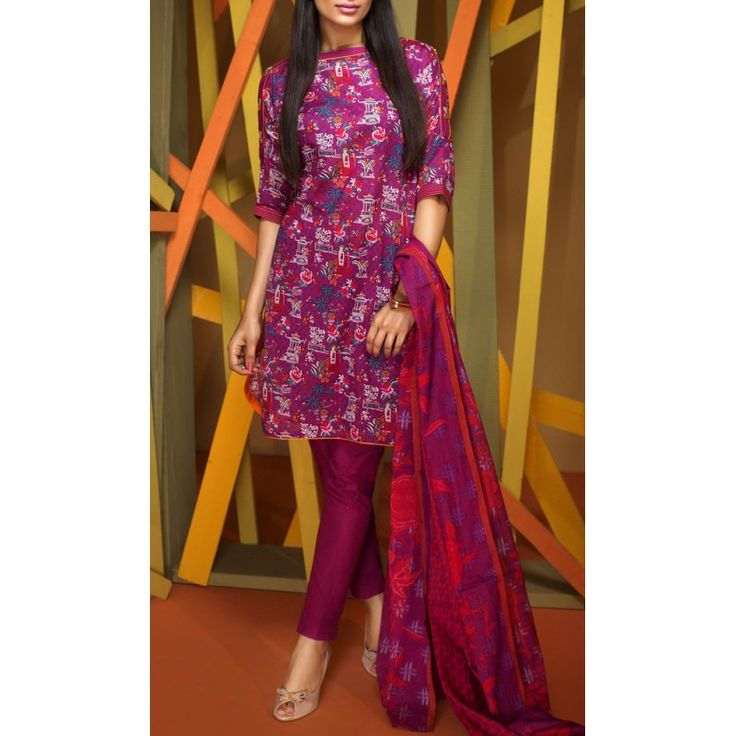 Purple Printed Cambric Dress Contact: (702) 751-3523  Email: info@pakrobe.com  Skype: PakRobe