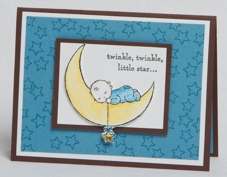 """Today's """"Hello Baby"""" card features the Stampin Up Moon Baby Stamp Set and the fabulous watercolor pencils!"""