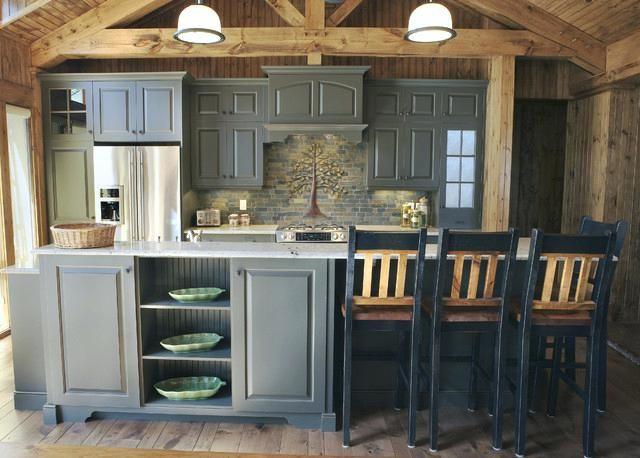 Image Result For Log Cabin Gray Kitchen Cabinets Log Cabin