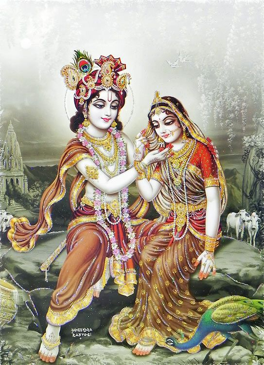 Krishna Admiring Radha- (Poster with Glitter) (Reprint on Paper - Unframed))