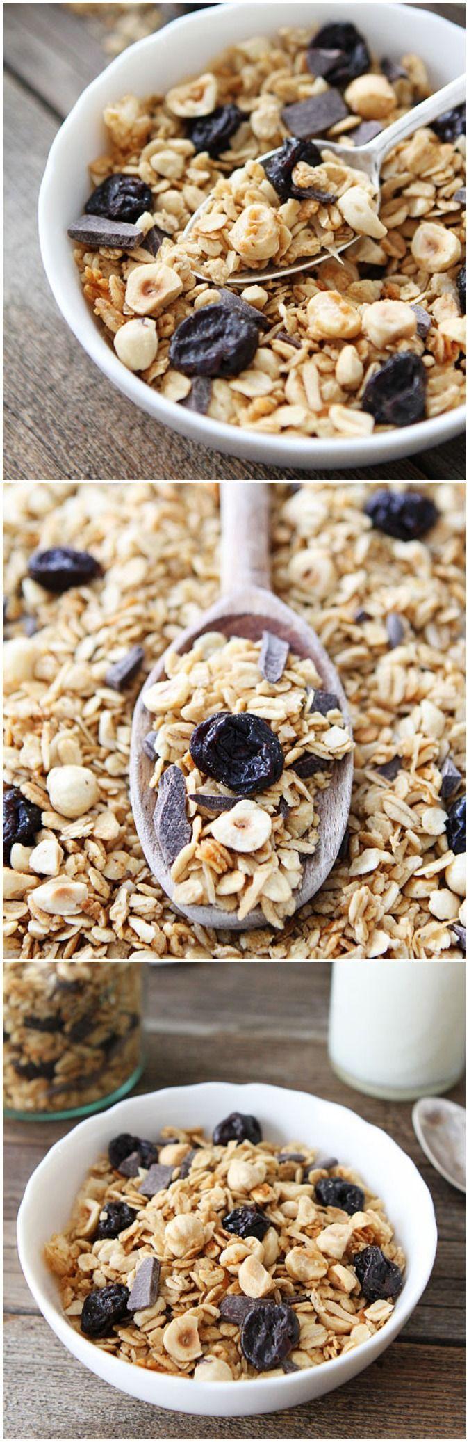 Hazelnut Granola with Dried Cherries and Dark Chocolate Recipe on ...
