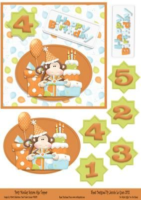 Party Monkey Square Age Topper 1 on Craftsuprint - View Now!