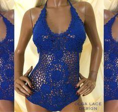 Купить Вязаный купальник от Olga Lace - кружевной купальник, Вязаный купальник, кружево, синий
