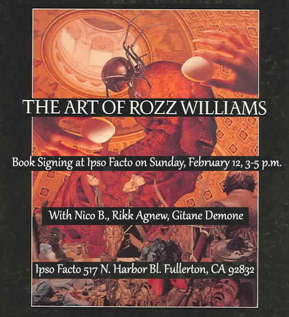 """Christian Death fans! On Sunday, February 12 at Ipso Facto boutique (517 N. Harbor Bl. Fullerton CA 92832) we welcome Nico B., Rikk Agnew and Gitane Demone in person for a book signing in honor of the re-release of """"The Art of Rozz Williams.""""  Join us! https://www.facebook.com/events/649556755227846/"""