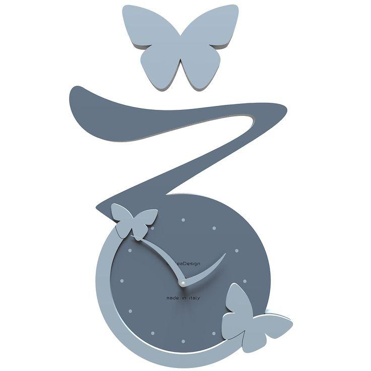 Reloj de pared Butterfly de CalleaDesign. Estructura en madera DM a elegir entre varios colores. Un diseño entrañable para tu cocina, o una habitación infantil.