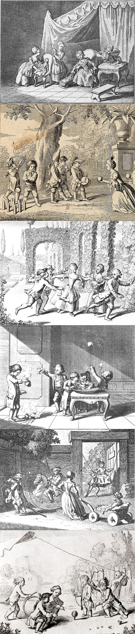Children's amusements, 1774, etchings by Daniel Niklaus Chodowiecki (16 October 1726 – 7 February 1801) published in Johann Bernhard Basedow's Das Elementarwerk für die Jugend und ihre Freunde (Berlin and Dessau, 1774. Images of children playing various games and amusing themselves—dolls, hobby horses, blowing bubbles, playing at soldiers, ten pin bowling, flying kites, spinning tops, hoops, playing blind man's bluff etc