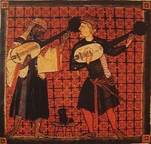 Christian and Muslim playing lutes in a miniature from Cantigas de Santa Maria of Alfonso X.