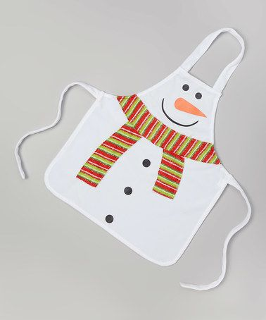 Look at this #zulilyfind! White Snowman Apron - Kids #zulilyfinds