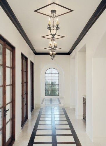 mediterranean hall by Carson Poetzl, Inc.: Carson Poetzl, Ceilings Treatments, Doors Design, Black Moldings, Ceilings Design, Dark Trim, Mediterranean Home, Crowns Moldings, Ceilings Trim