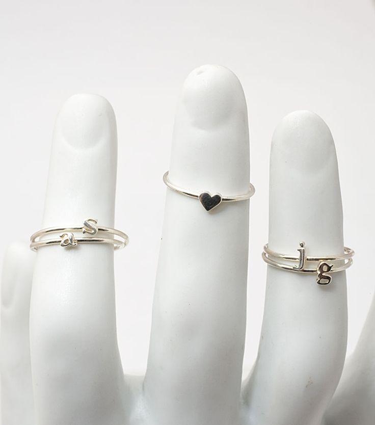 Heart Ring, Sterling Silver: Cute Rings, Stackable Rings, Alphabet Rings, Initials Rings, Heart Rings, Knuckle Rings, Stacking Rings, Dainty Rings, Jewelry Rings