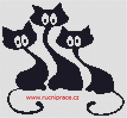 Cats, free cross stitch patterns and charts - www.free-cross-stitch.rucniprace.cz