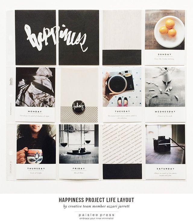 Happiness Project Life Spread by creative team member Azzari Jarrett using 3x4 Minimalist Templates by paislee press